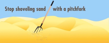 shovelling sand with a pitchfork